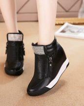 siyah taşlı gizli topuk sneaker sk22686