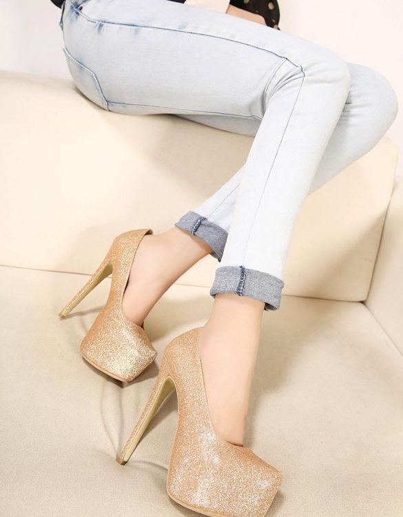 altın simli platform gece ayakkabısı sk23908