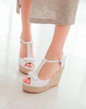 beyaz fiyonk detaylı hasır topuk sandalet sk23869
