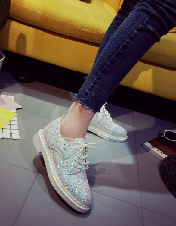 beyaz payetli bağcıklı oxford ayakkabı sk23673