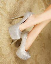 gümüş simli platform gece ayakkabısı sk23908