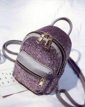 gri payetli ufak sırt çantası sk23591