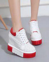 kırmızı platform yüksek taban ayakkabı sk23879