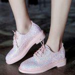 pembe payetli bağcıklı oxford ayakkabı sk23673