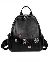 siyah çiçek işlemeli deri sırt çantası sk23602