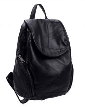 siyah dikiş detaylı yumuşak deri sırt çantası sk23607