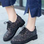siyah payetli bağcıklı oxford ayakkabı sk23673
