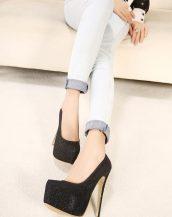 siyah simli platform gece ayakkabısı sk23908