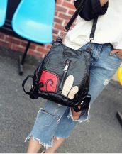 siyah yumuşak deri kol ve sırt çantasi sk23638