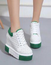 yeşil platform yüksek taban ayakkabı sk23879