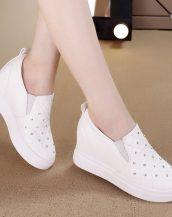 beyaz parlak taşlı gizli topuk ayakkabı sk24670