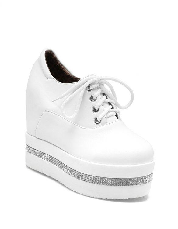 beyaz taşlı platform gizli topuk ayakkabı sk24776