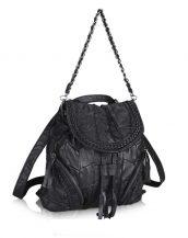 siyah örgü detaylı kol ve sırt çantası sk24405