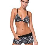 siyah beyaz desenli şortlu bikini sk24642