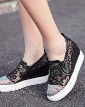 siyah dantel detaylı gizli topuk ayakkabı sk24800