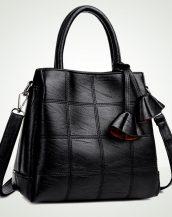 siyah dikiş detaylı deri çanta sk24439