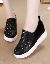 siyah parlak taşlı gizli topuk ayakkabı sk24670