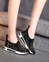 siyah taş ve incili gizli topuk ayakkabı sk24654
