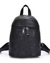 siyah yıldızlı zımbalı sırt çantası sk24387