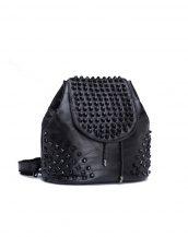 siyah zımbalı deri küçük sırt çantası sk24354