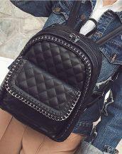 siyah zincir detaylı deri sırt çantası sk24312