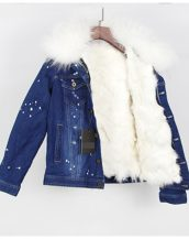 beyaz kürk astarlı kot ceket sk25254