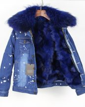 mavi kürk astarlı kot ceket sk25254