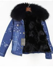 siyah kürk astarlı kot ceket sk25254