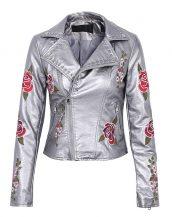 gümüş çiçek işlemeli deri ceket sk25729