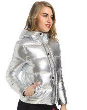 parlak gümüş rengi şişme mont sk25703
