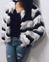 siyah beyaz uzun tüylü kısa kürk ceket sk25921