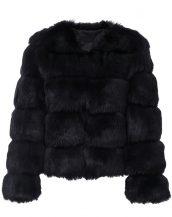 siyah kabarık kısa kürk ceket sk26037