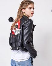 siyah nakışlı kısa deri ceket sk25786