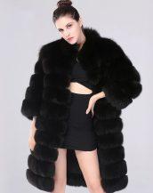 siyah uzun kürk palto sk26021
