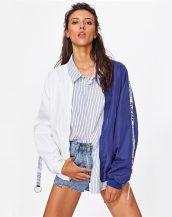mavi beyaz baskılı ince spor ceket sk26500