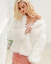 beyaz yakasız kısa kürk ceket sk27614