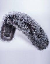 gerçek gri siyah kürk kapüşon yakası sk28010