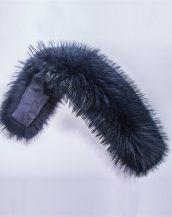 gerçek lacivert siyah kürk kapüşon yakası sk28010