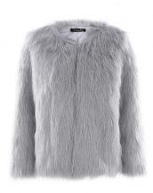 gri yakasız kısa kürk ceket sk27614