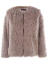 kahverengi yakasız kısa kürk ceket sk27614
