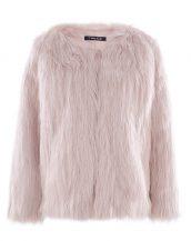 pudra yakasız kısa kürk ceket sk27614