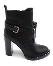 siyah deri zımba detaylı topuklu bootie sk27453
