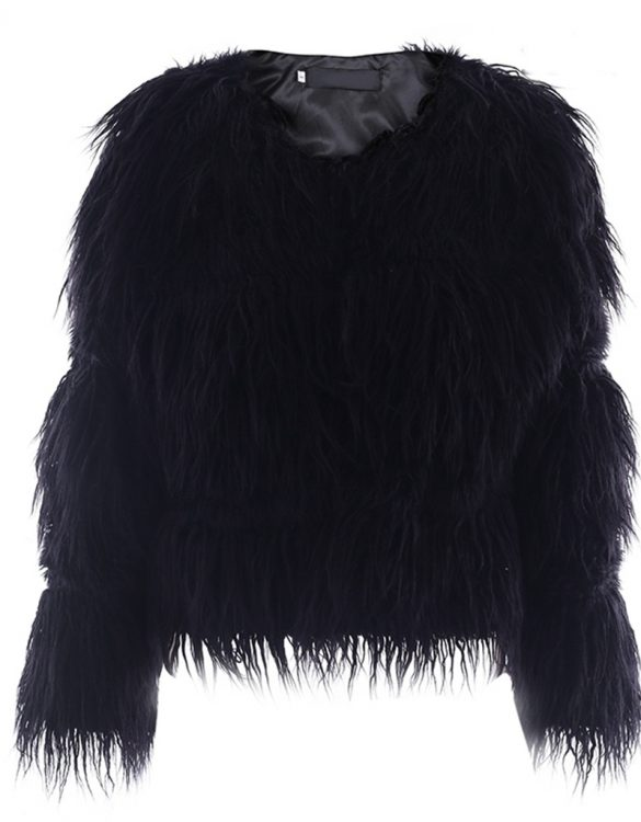 siyah uzun tüylü kürk ceket sk27603