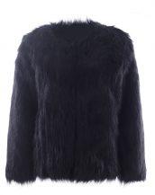 siyah yakasız kısa kürk ceket sk27614
