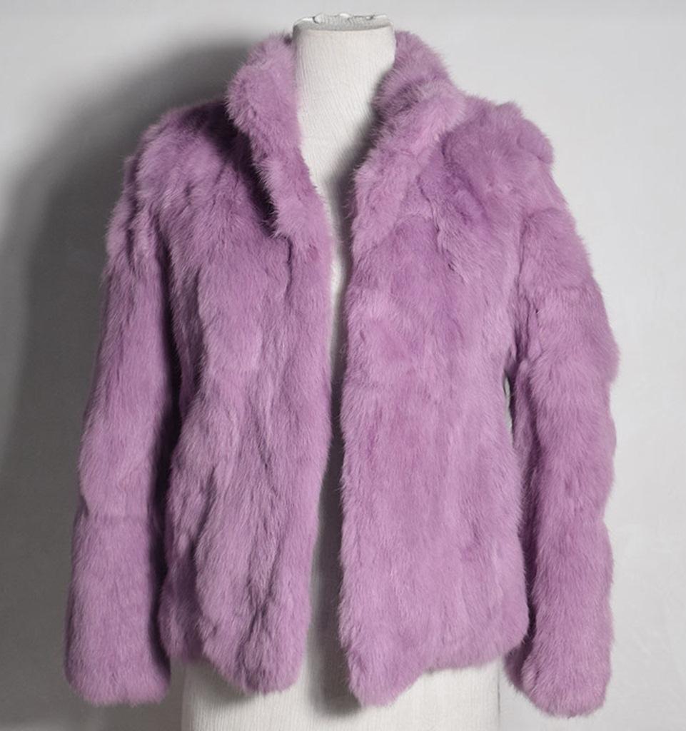 lila tavşan kürkü kısa ceket sk28345