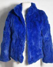 mavi tavşan kürkü kısa ceket sk28345