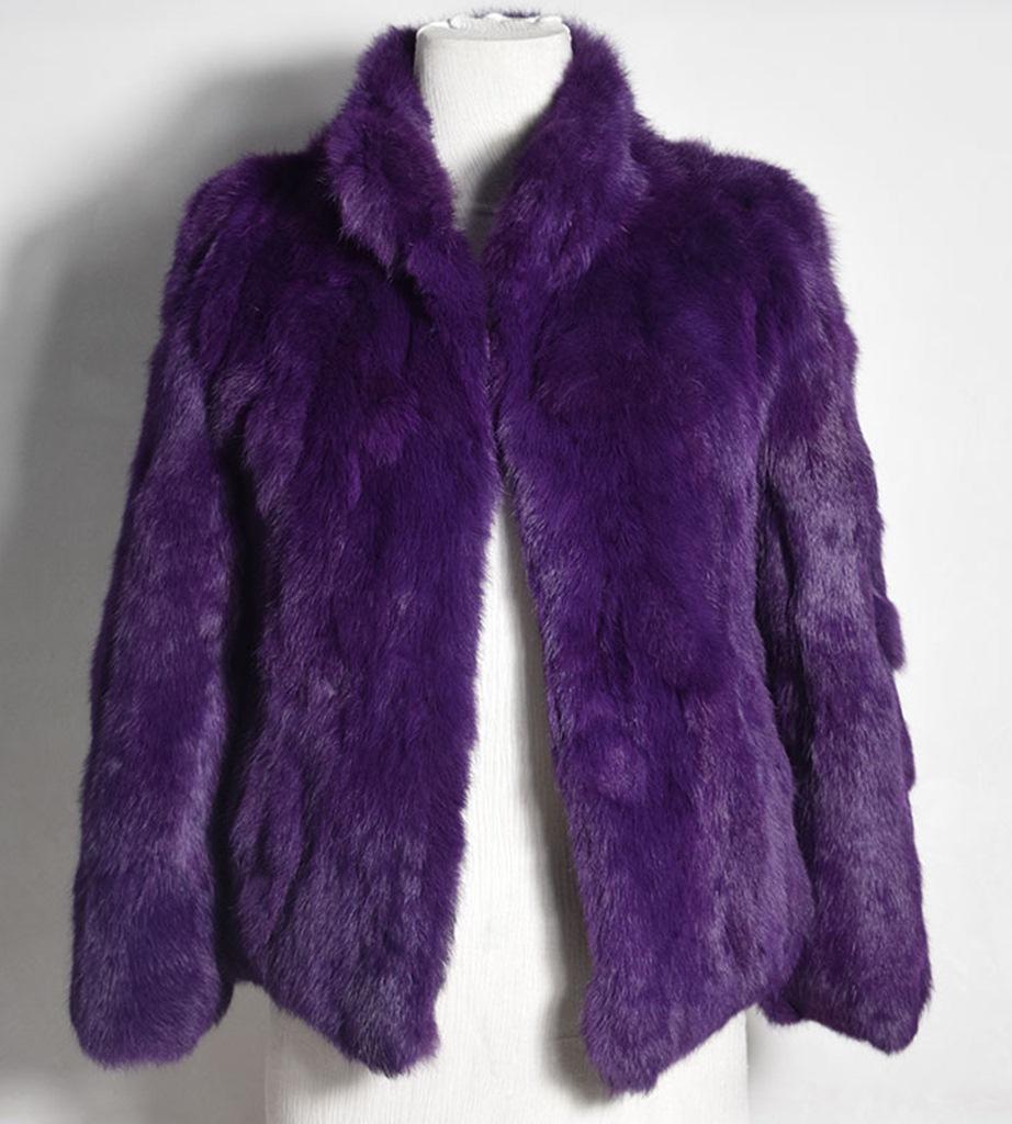 mor tavşan kürkü kısa ceket sk28345