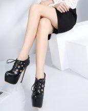 siyah platform topuk bağcıklı ayakkabı sk28884