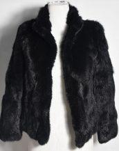siyah tavşan kürkü kısa ceket sk28345