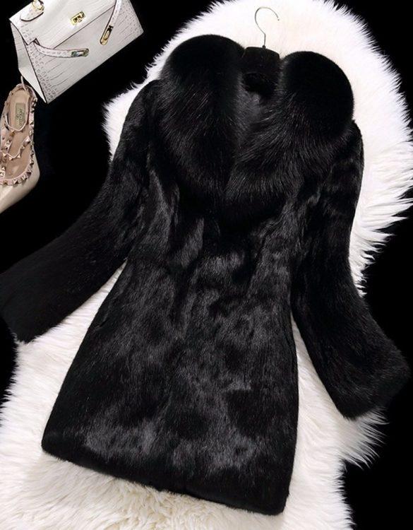 siyah tavşan kürkü mont sk28340